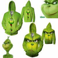 3D Print Movie Grinch Men Women Casual Hoodie Sweatshirt Zipper Jacket Pullover