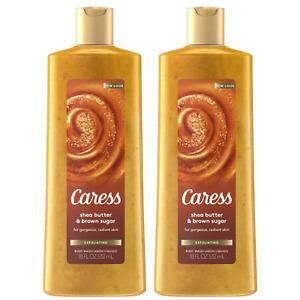 (2) Packs Caress Exfoliating Body Wash Soap Shea Butter & Brown Sugar - 18 fl oz