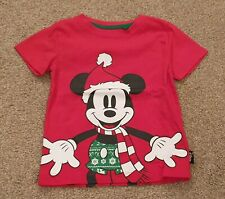Disney Mickey Mouse In Santa Hat Christmas T Shirt Top Size 12-18 Months Ex Cond