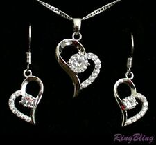 REDUCED! Heart Necklace & Earring Set 33% OFF! Crystal &18K White Gold Plate!