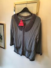 New Darling Petrol Blue & Pearl Embellished Angora Mix 3/4 Sleeve Cardigan,Med