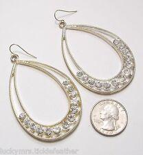 """Openwork Teardrops w/Large Rhinestones 3.25"""" Large Dangle Pierced Earrings, St"""