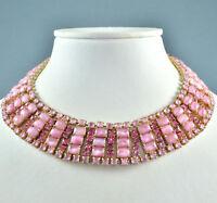 Vintage Necklace 1950s Pink Satin Glass Crystal Collar Goldtone Bridal Jewellery