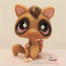 Littlest Pet Shop #661 -Dark Brown Sugar Glider Ringtail Possum Bat w/ Pink Eyes
