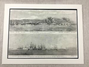 1855 HMS Danube HMS Merlin British Russian Navy Ships Original Antique Print