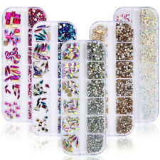 1788pcs 3D Nail Art Rhinestones Flatback Crystal AB Gems Case Mixed Glass Stones