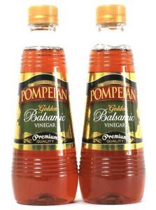 2 Bottles Pompeian 16 Oz Golden Balsamic Vinegar Premium Quality BB 1/9/2022