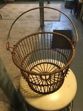 """Vintage Metal Clam Oyster Wire Basket Fishing Nautical, 13""""wide Long Island, Ny!"""
