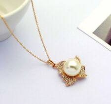 18K Rose Gold Plated Made with Swarovski Elements Big Pearl Flower Necklace