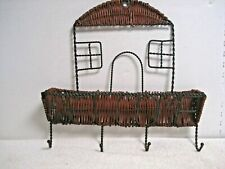VTG Wall Mail Organizer Hanging Letter Bill Holder wicker & wire hooks WELCOME