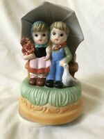Vintage Porcelain Kids Umbrella Wind-up Music Box Musical Raindrops Keep Falling