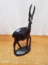 "Wooden Carved Ibex Antelope Figure Figurine 7.5"" Ebony Dark Wood African Art"