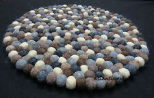 CU1 Hand Crafted Felt Ball wool Decorative pom pom beads 40 cm Cushion Round Rug