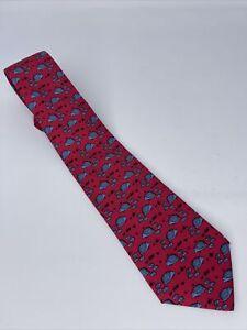 Hermes Paris Hedgehogs Red Tie - #7363 PA - 100% Silk - Made in France