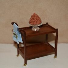 dollhouse miniature tea cart 1:12 w/ dessert tray