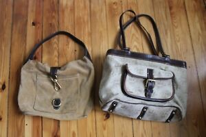 Lot of 2 Dooney & Bourke Handbags Distressed Tote Slouch Suede Tote Purses