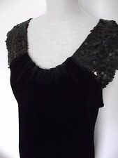 Women's M&S Woman Velvet Style Embellished Black Dress Size 12