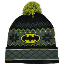 DC Comics Batman Dark Knight Intarsia Cuffed Pom Beanie Knit Winter Hat Nordic