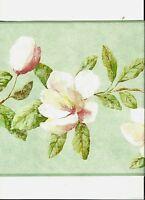 ENGLISH MAGNOLIA FLOWERS ON BRANCHES WALLPAPER BORDER  AZ5225B