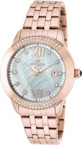 New Womens Invicta 20314 Angel Rose Tone Bracelet Watch