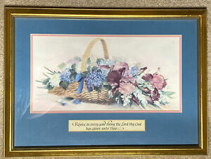 Glynda Turley Limited Edition Iris Basket Print Signed Framed Matted Vintage COA