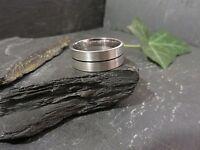 Schöner 925 Silber Ring Matt Groß Schwarze Rille Gebürstet Breit Massiv Edel Top
