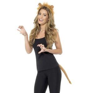 Adult Animal Lion Fancy Dress Set Ears on Headband & Tail Kit Brown by Smiffys