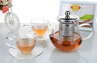 Tea Set - 565ml Glass Flower Teapot +2x Double Wall Glass Cups & Saucers Sets