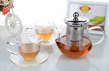 Tea Set - 700ml Glass Flower Teapot +2x Double Wall Glass Cups & Saucers Sets