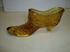 Vintage Fenton Amber Art Glass Shoe Slipper DAISY & BUTTON Boot or L.E. SMITH