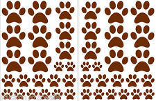 BROWN PAW PRINTS - 2 sheets total of 44 pieces VINYL WALL DECAL STICKER DOG CAT
