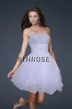 PUFFY SKIRT LACED-UP BACK BEADED PARTY/PROM/COCKTAIL/HOMECOMING; WHITE AU18/US16