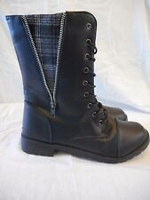 Women's Rue 21 Side Zip Plaid Front Lace Boots Size X-Large 10 Black  NEW