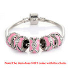 5Pcs Pink Enamel Vintage Silver Plated Charm Beads For Chain Bracelets