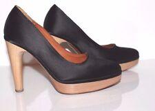 LANVIN Women's Shoes Silk Satin Black  Platform Pumps  Size 38.5 EUR