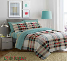 Luxury Style Reversible 4 Pcs Duvet Set Fitted Sheet Pillow Case 100 Cotton Super King Ct 904 Burgundy