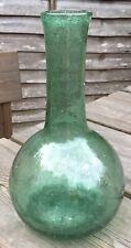 Vintage 1930s Antique Style Roman Bulbous Green Glass Bottle Vase - Replica