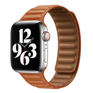 Magnetic Leather Link Bracelet IWatch Strap for Apple Watch Band Series 7 6 SE