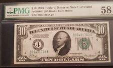 USA $10 1928 Federal Cleveland 2000-D AUNC PMG Numeric RARE
