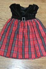 Sophie Rose Toddler Girls Black Velour Red Plaid Holiday Dress Size 2T