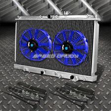 "2-ROW ALUMINUM RADIATOR+2X 12""FAN KIT BLUE FOR 97-01 HONDA PRELUDE BB6 H22A4 MT"