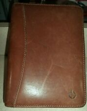 Franklin Covey 7 Ring Brown Leather Zip Planner Binder