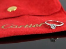 $4,500 Cartier Platinum GIA 0.37ct Diamond Solitaire Engagement Ring #47 Sz 4