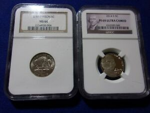 2005 P MS 64  Bison  5c,  2014 PF 69 UC Jefferson coins. Lot of 2, NGC graded.