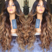 Brazilian Glueless Lace Front Human Hair Wigs Ombre Highlight Full Lace Wig Wavy