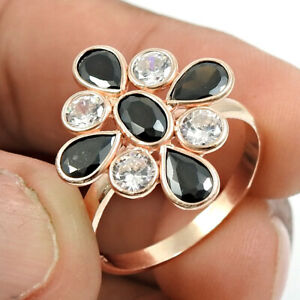 Silver Jewelry Pear Shape Black Cz White Cz Rose Gold Plated Ring Size 9 R35