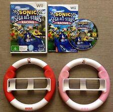 Wii SONIC & SEGA ALL-STARS RACING + 2 STEERING / RACING WHEELS ~ AMY & KNUCKLES