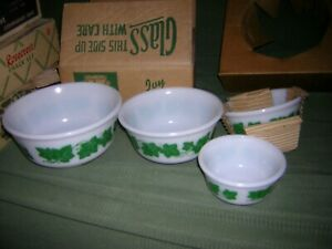 Vintage Hazel Atlas White Milk Glass Green Ivy Mixing Bowls 4pc.Set NOS IOB
