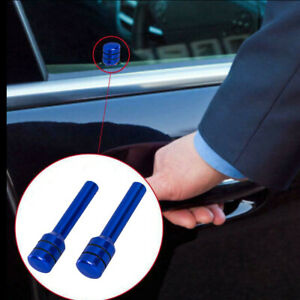 2x Universal Blue Car Interior Door Lock Knob Pull Pin Cover Aluminum New