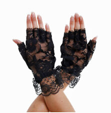 ADULT SHORT FINGERLESS LACE BLACK GLOVES, DRESSING UP, OUTFIT, PARTY, COSTUME